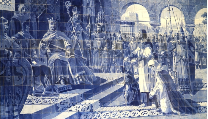 Presentation of egas moniz with the children to king afonso vii of leon and castile (12th century).