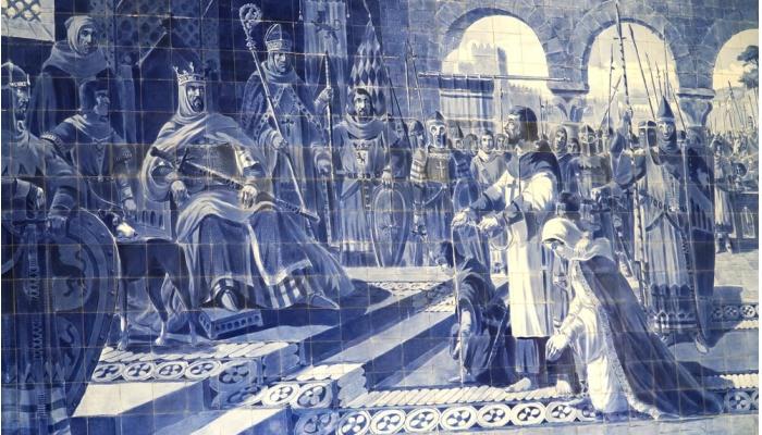Apresentação de Egas Moniz com os filhos ao Rei Afonso VII de Leão e Castela (século XII).